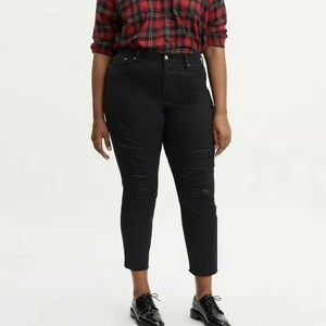 Levis Wedgie Skinny Jeans Black Distressed High Ri